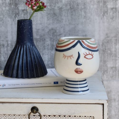 Navy Speckle Decorative Vase