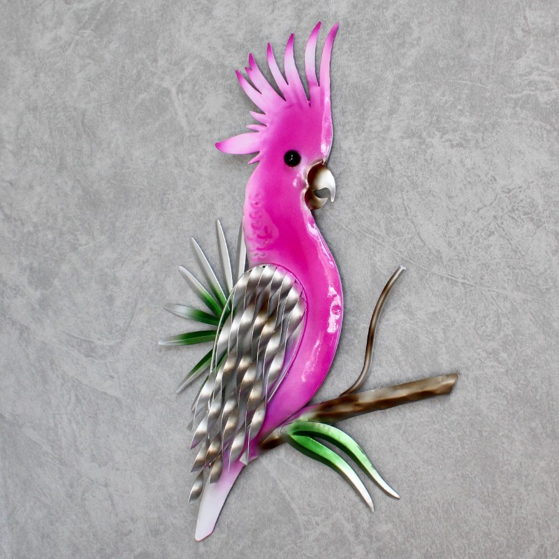 Pink Cockatoo Metal Wall Decor