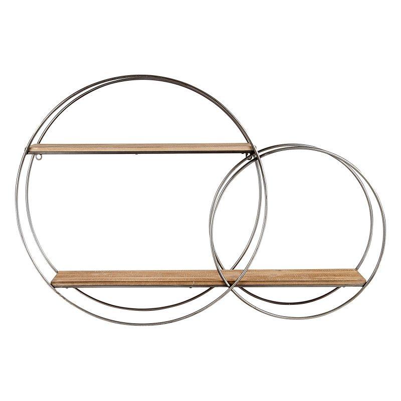 Round Galvanised Metal Floating Wall Hanging Shelf