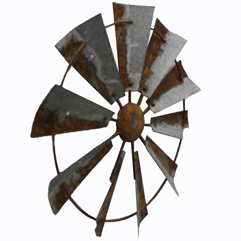 Rustic Hanging Windmill Metal Wall Art Decor