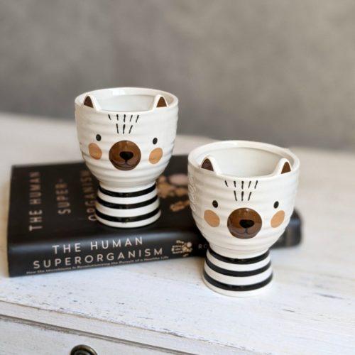Set of 2 Bear Ceramic Pot Planter