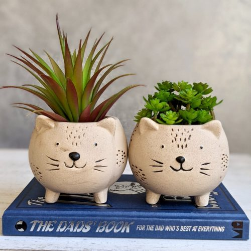 Beige Sandy Cat Pot Planter - Set of 2
