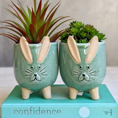 Cute Green Bunny Rabbit Pot Planter - Set of 2