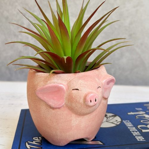 Pink Sandy Pig Pot Planter - Set of 2