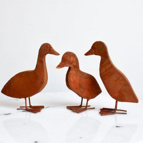 Rustic Duckling Garden Statue Sculpture - Set of 3