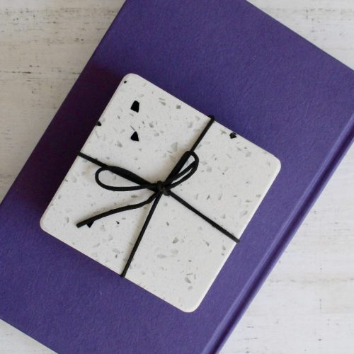 Terrazzo White Drink Coasters - Set of 4