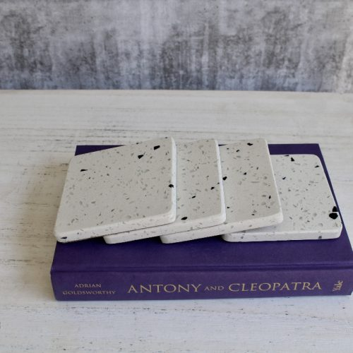 Terrazzo White Drink Coasters - Set of 4