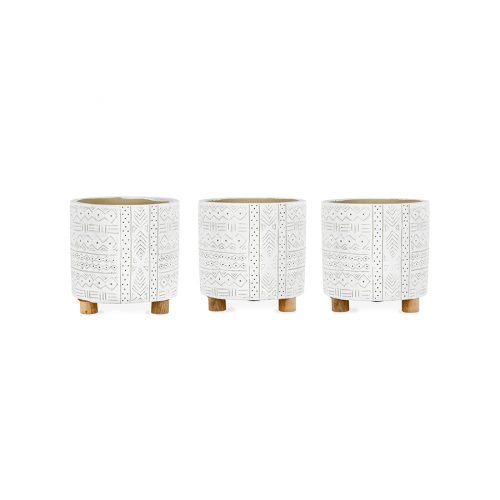 Tribal Distressed White Pot Planter - Set of 3