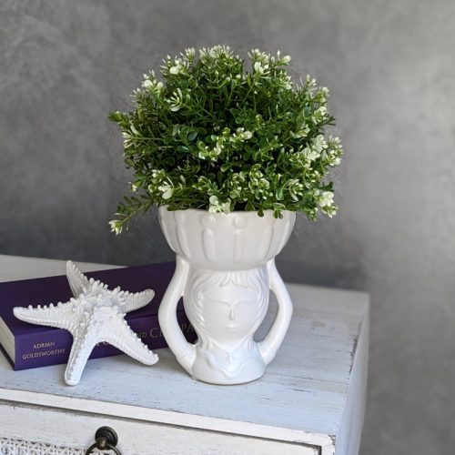 White Girl Head Ceramic Pot Planter