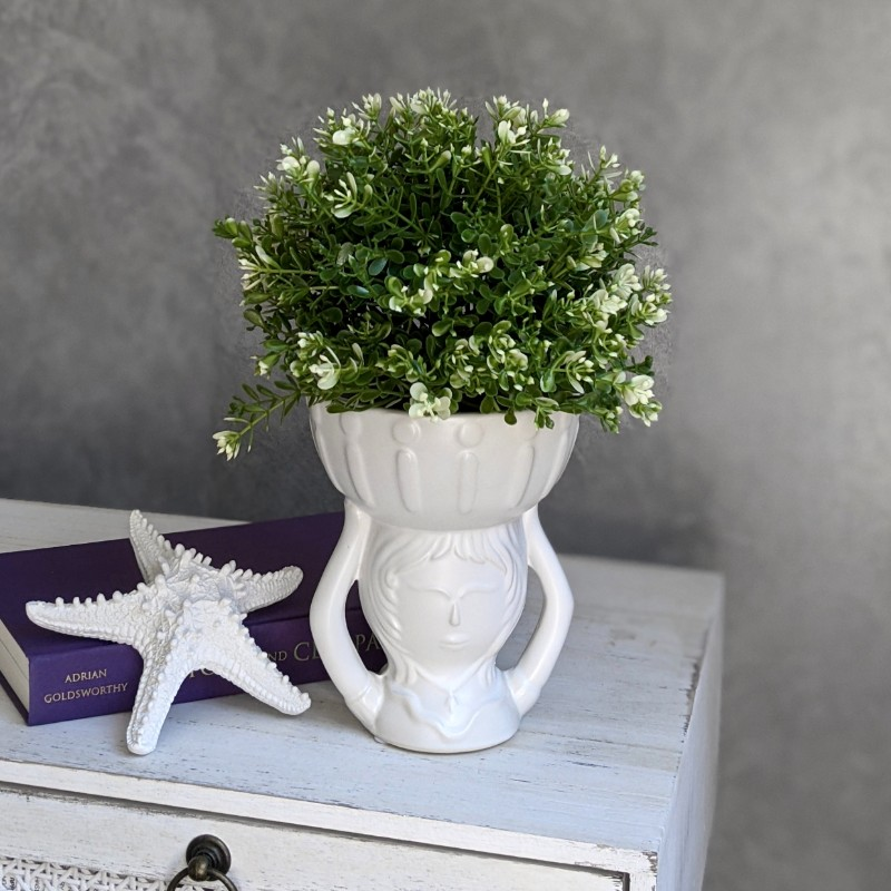 White Girl Head Ceramic Pot Planter