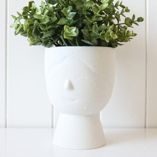 White Sandy Girl Face Pot Planter