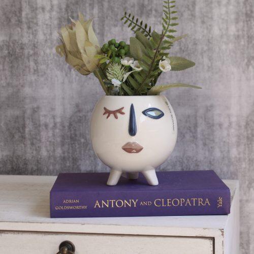 Winking Girl Planter Vase