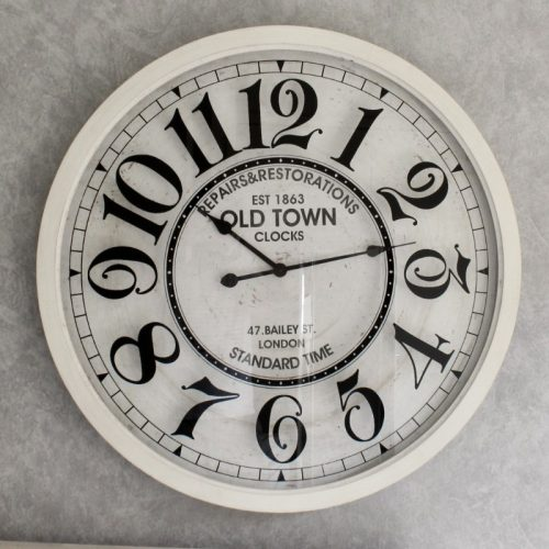 XL Distressed Old Town Glass Front Wall Clock