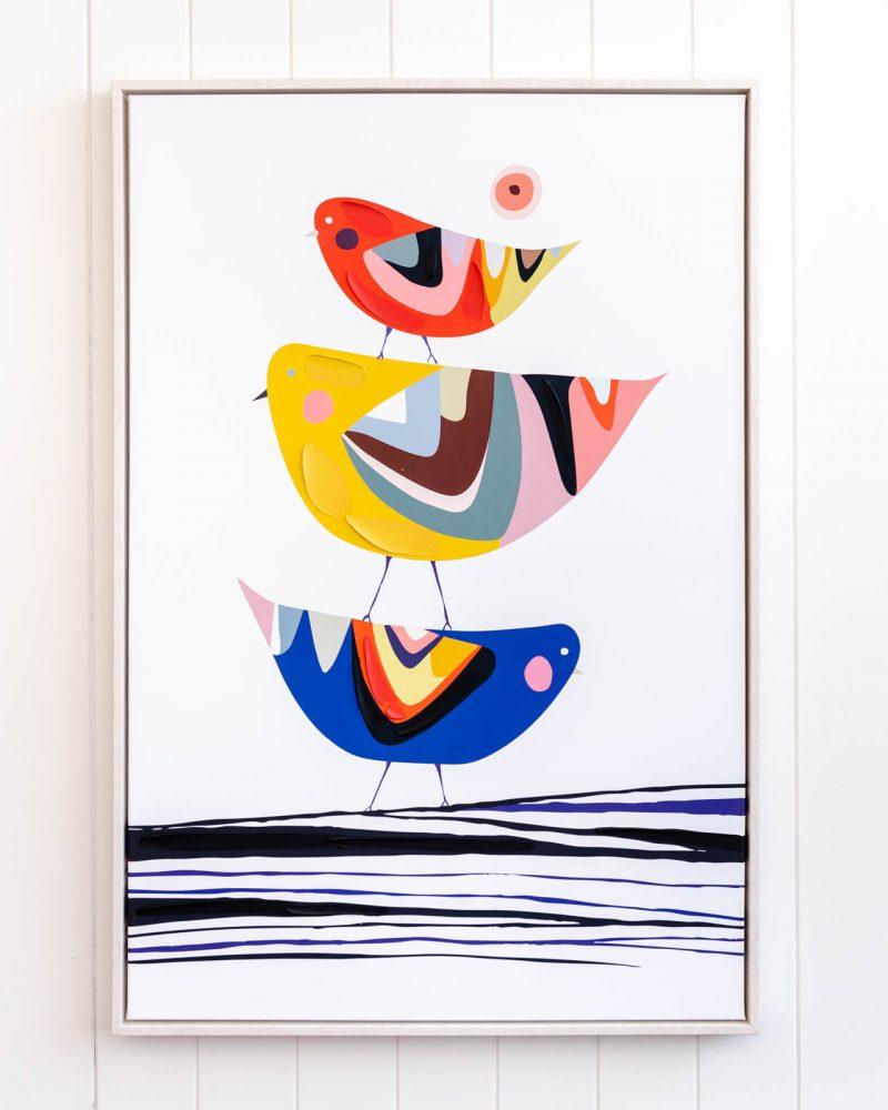 Bird Family Tree Framed Canvas Print Wall Art