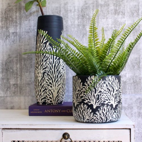 Coastal Navy Coral Ceramic Pot Planter
