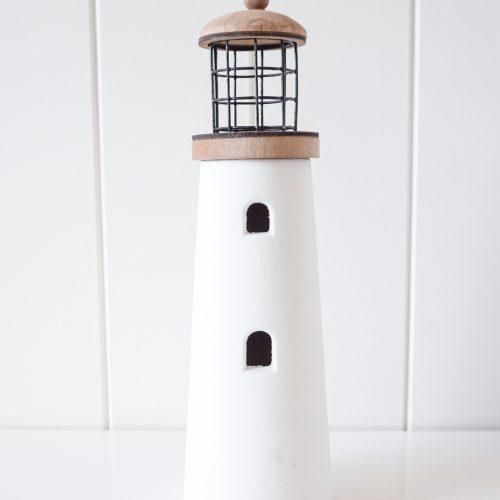 Coastal White Wooden Lighthouse Decor Ornament