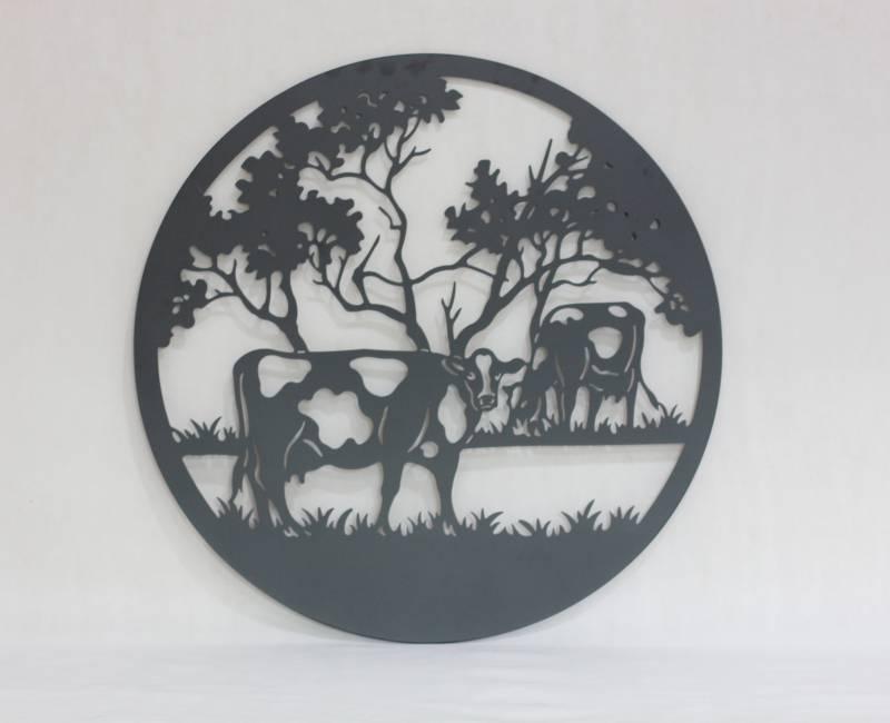 Grazing Cow Black Metal Wall Art Decor
