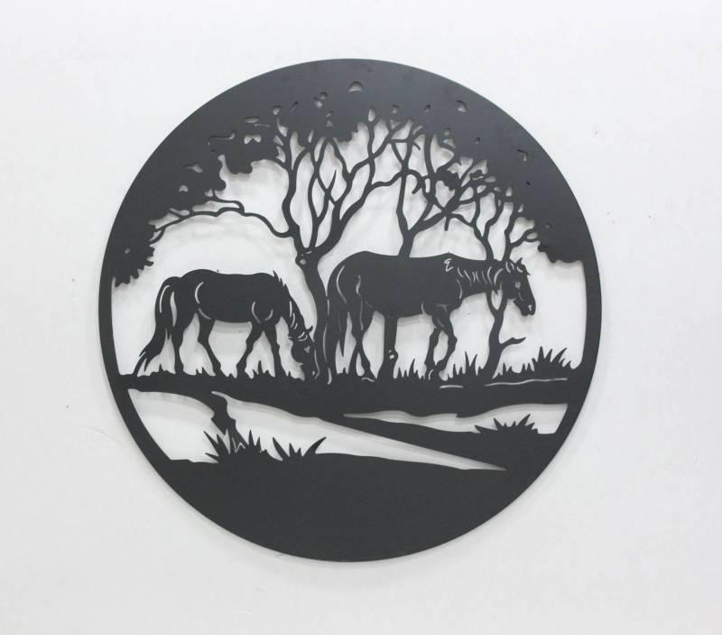 Grazing Horses Black Metal Wall Art Decor