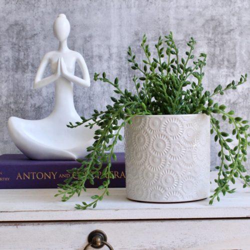 Moroccan Glossy White Planter Pot