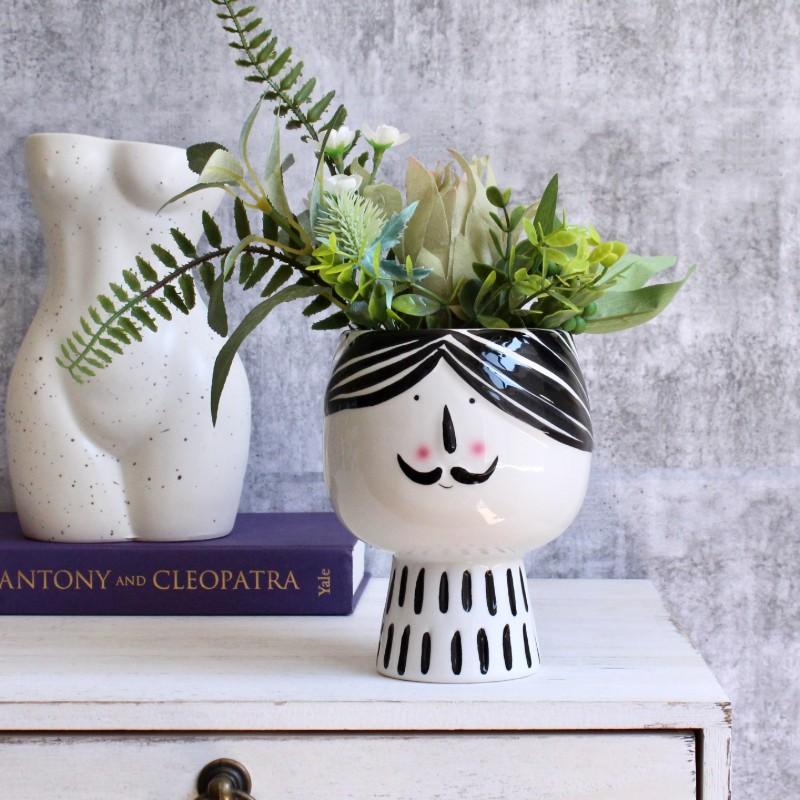 Moustache Man Ceramic Vase Planter Pot