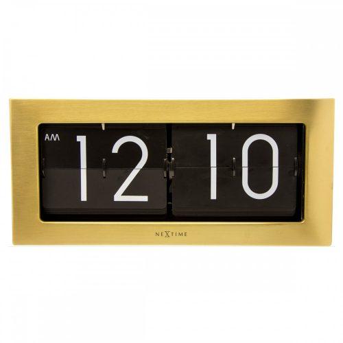 NexTime Gold Big Flip Steel Clock