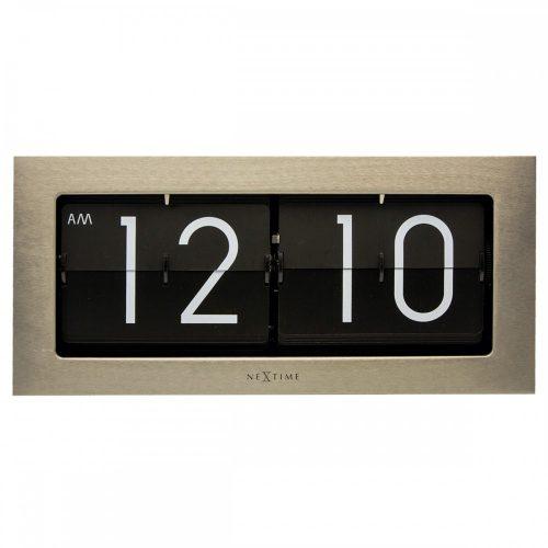 NexTime Silver Big Flip Steel Clock