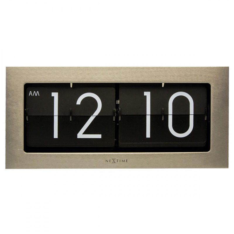 NexTime Silver Big Flip Steel Clock