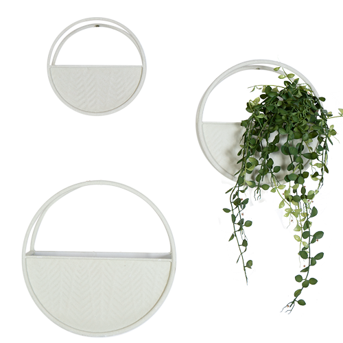 Round Concrete Finish Metal Wall planters - Set of 3