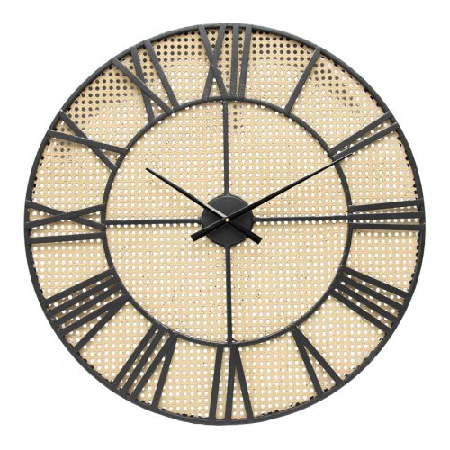 Round Hamptons Rattan Look Metal Wall Clock