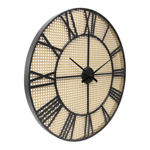 Round Hamptons Rattan Look Metal Wall Clock