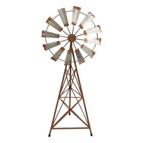 Rustic Look Metal Garden Windmill Ornament