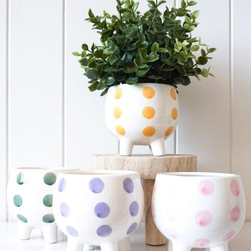 Spots Ceramic Pot Planter On Legs