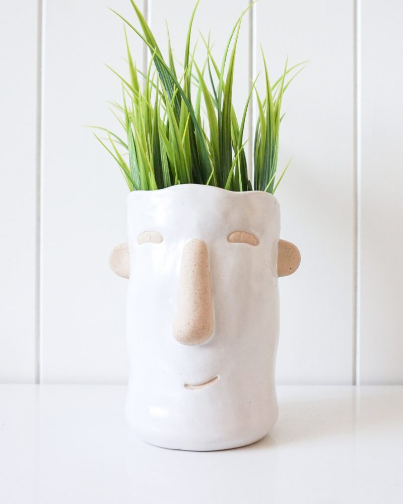White Ceramic People Face Pot Planter