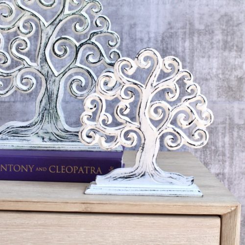 Whitewash Hand Carved Tree of Life Decor Ornament