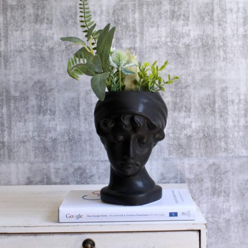 Black Statue Face Vase Planter
