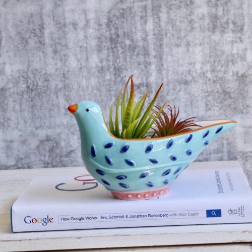Blue Bird Ceramic Planter Pot