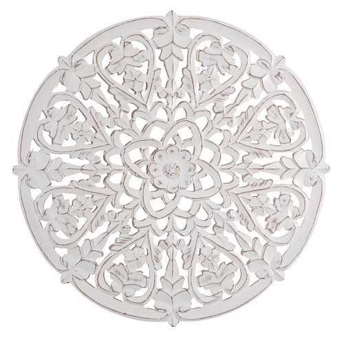 Hamptons Round Floral Mandala Heart Wooden Wall Art