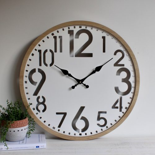 Natural White Cutout Wooden Wall Clock