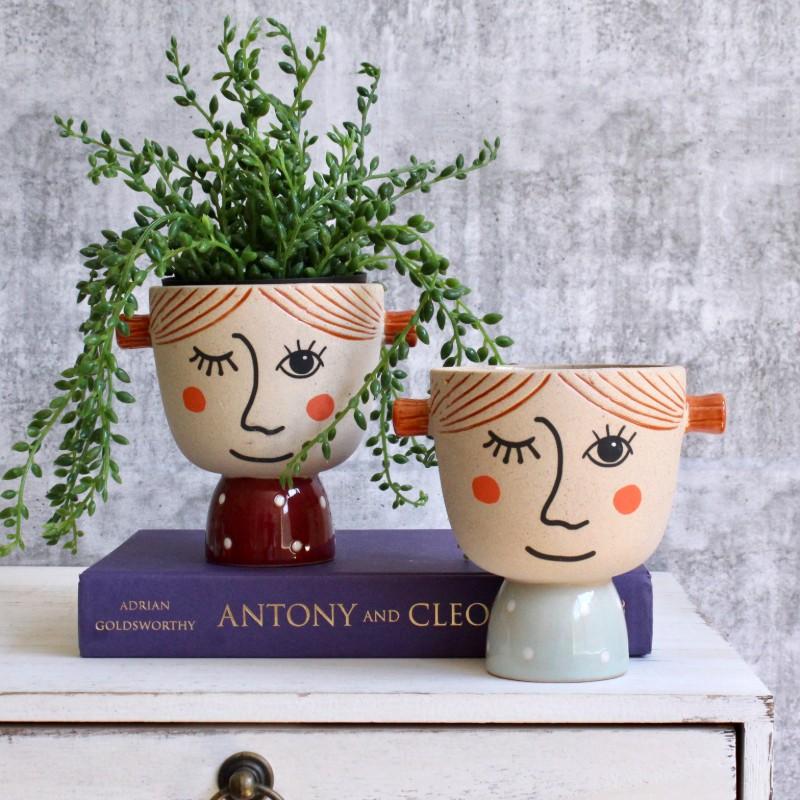 Naughty Winking Girls Planter Pot