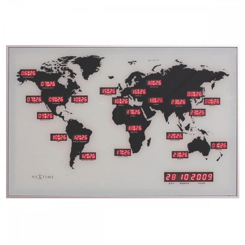 NeXtime World Time Zone Digital Wall Clock