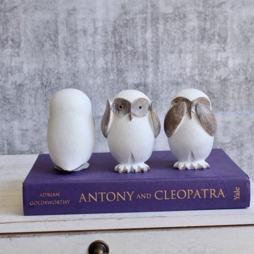 No Evil See Hear Speak White Owls Statue - Set of 3