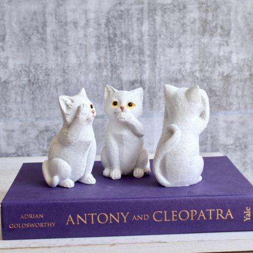 No Evil See Hear Speak White Cats Statue - Set of 3