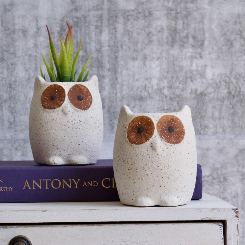 Sandy Owl Planter Pot - Set of 2