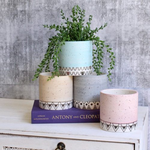 Pastel Aztec Tribal Ceramic Planter Pot - Set of 4