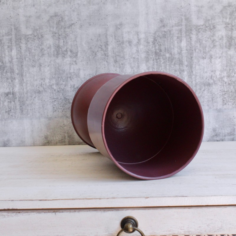 Tall Brick Red Metal Planter Pot