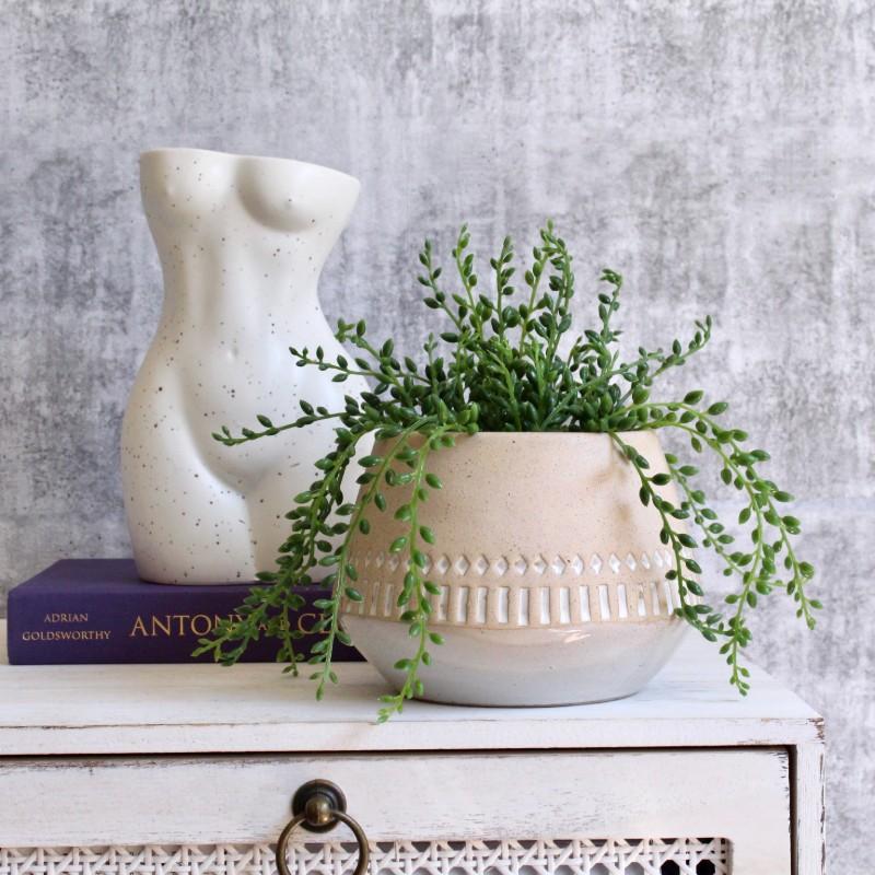 Tribal White Sandy Planter Pot