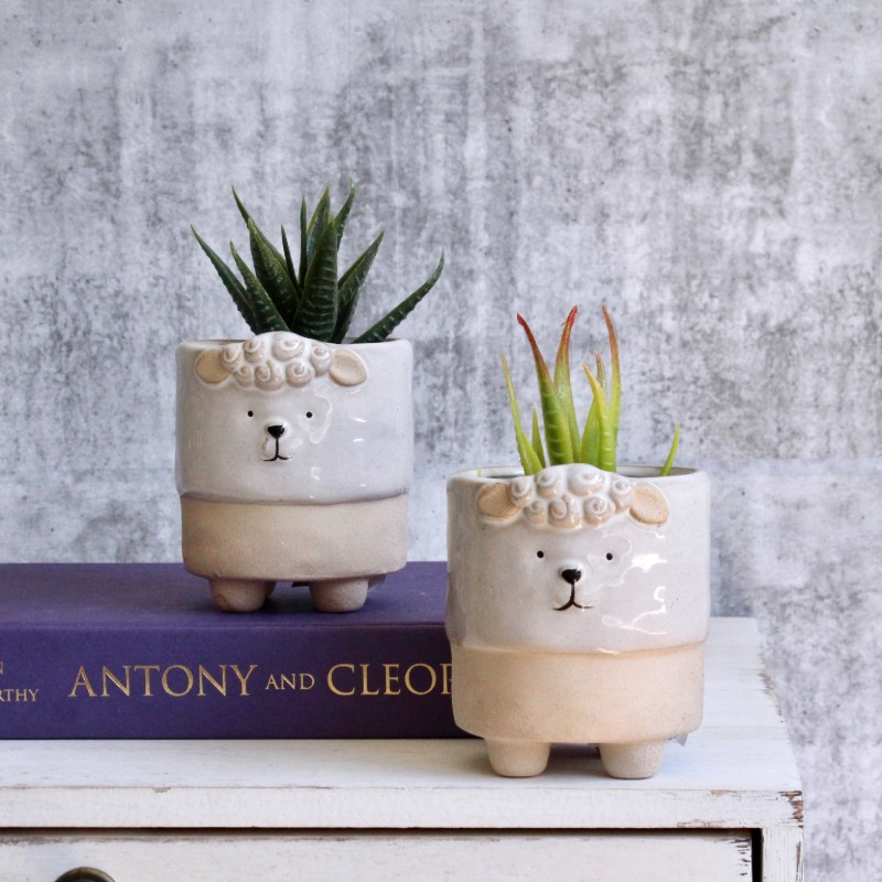 White Sheep Succulent Planters - Set of 2