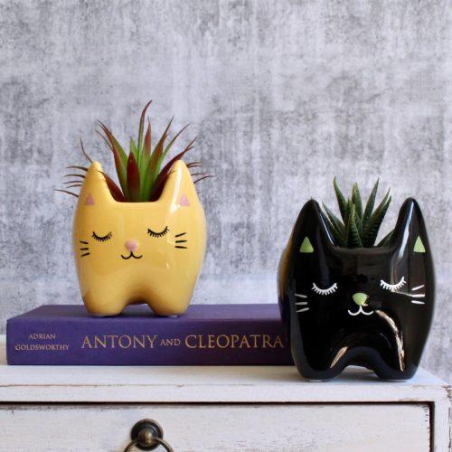 Yellow Black Cat Planter