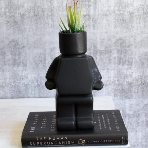 Black Block Man Planter Pot