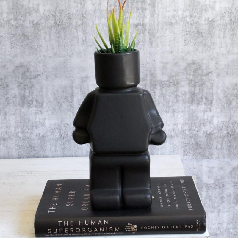Black Block Man Planter Pot